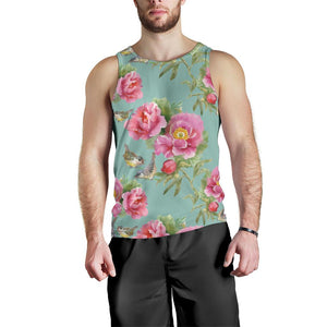 Bird Pink Floral Flower Pattern Print Men's Tank Top GearFrost