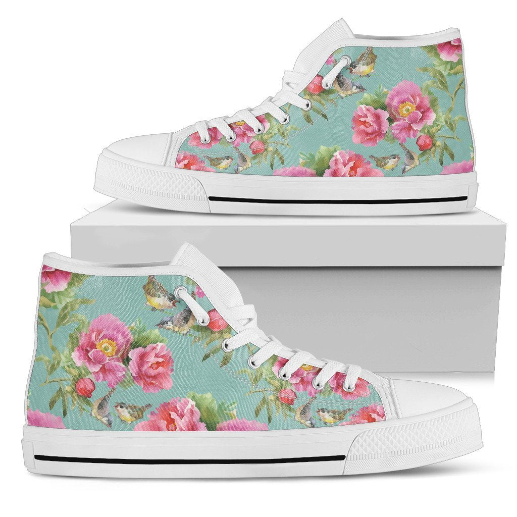 9775bc90fe388 Bird Pink Floral Flower Pattern Print Women's High Top Shoes