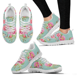 Bird Pink Floral Flower Pattern Print Women's Sneakers GearFrost