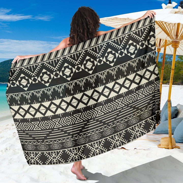 Black And Beige Aztec Pattern Print Beach Sarong Wrap GearFrost
