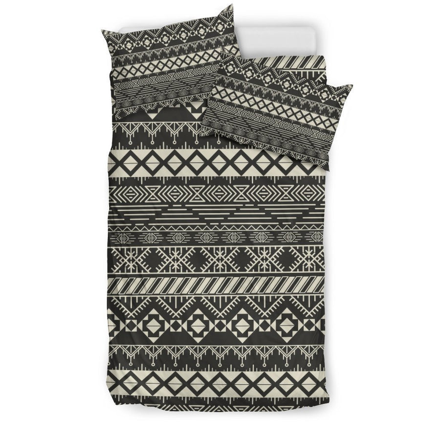 Black And Beige Aztec Pattern Print Duvet Cover Bedding Set GearFrost
