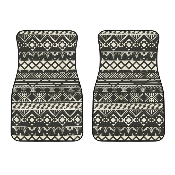 Black And Beige Aztec Pattern Print Front Car Floor Mats GearFrost