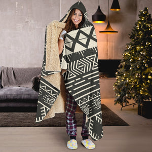 Black And Beige Aztec Pattern Print Hooded Blanket GearFrost