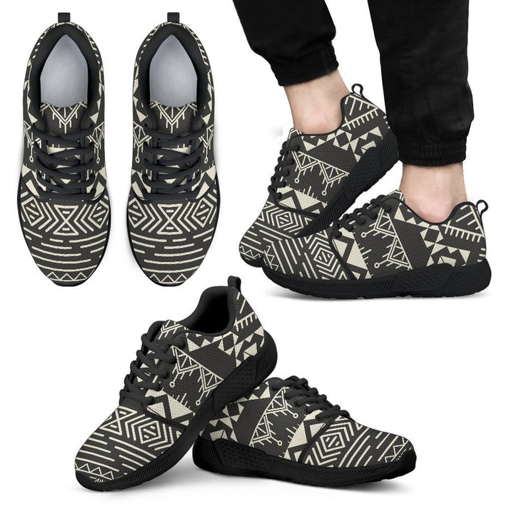 Black And Beige Aztec Pattern Print Men's Athletic Shoes GearFrost