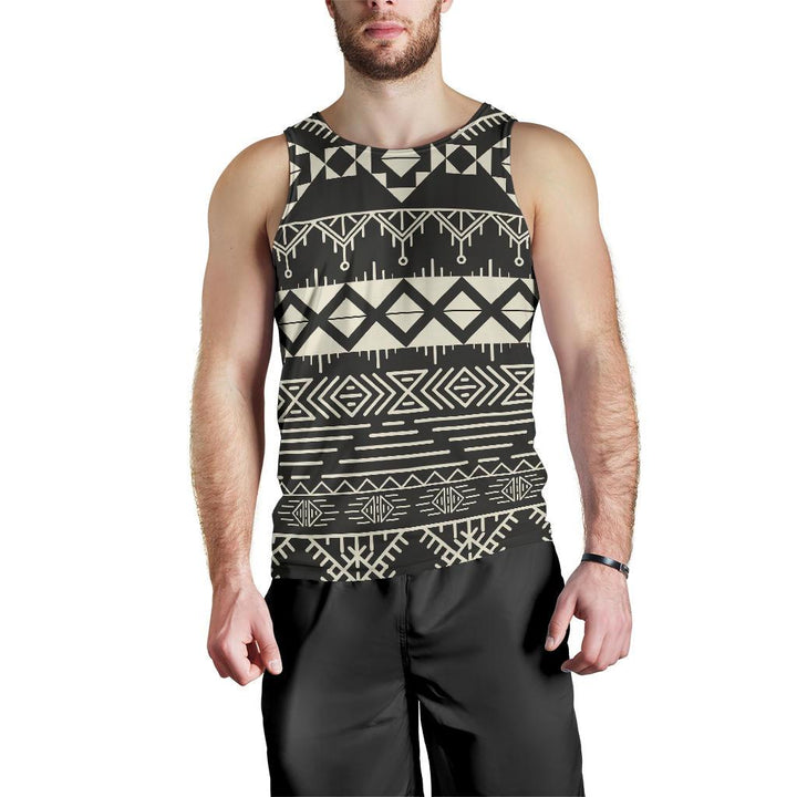 Black And Beige Aztec Pattern Print Men's Tank Top GearFrost