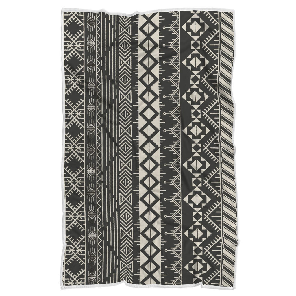 Black And Beige Aztec Pattern Print Sherpa Blanket GearFrost
