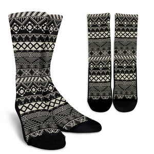 Black And Beige Aztec Pattern Print Unisex Crew Socks GearFrost