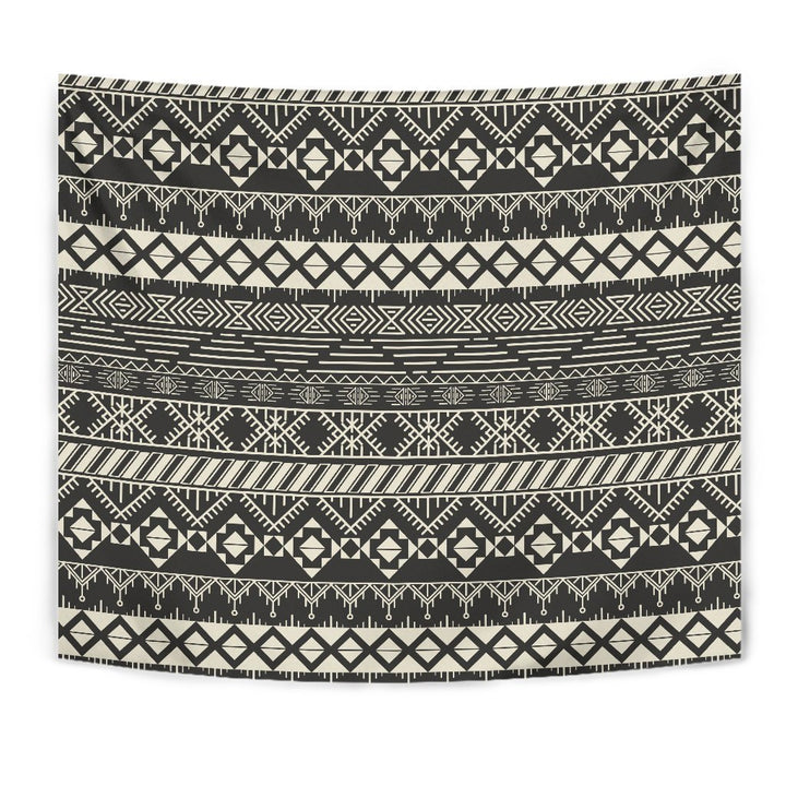 Black And Beige Aztec Pattern Print Wall Tapestry GearFrost