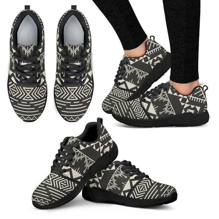 Black And Beige Aztec Pattern Print Women's Athletic Shoes GearFrost