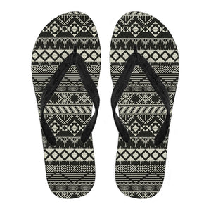 Black And Beige Aztec Pattern Print Women's Flip Flops GearFrost