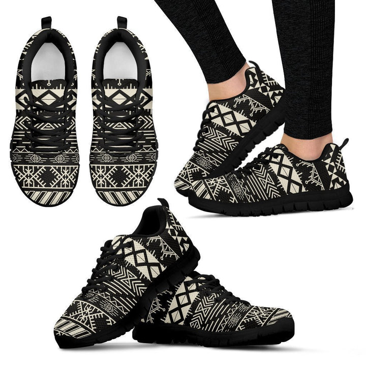 Black And Beige Aztec Pattern Print Women's Sneakers GearFrost