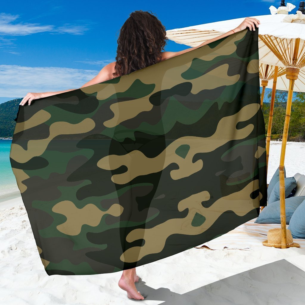 Black And Green Camouflage Print Beach Sarong Wrap GearFrost