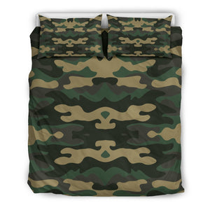 Black And Green Camouflage Print Duvet Cover Bedding Set GearFrost
