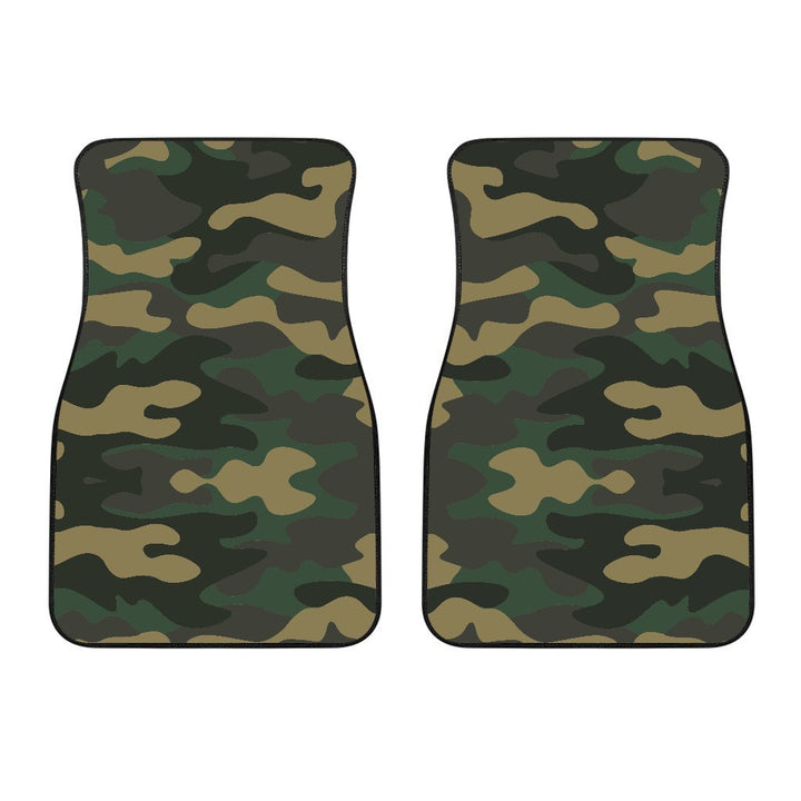 Black And Green Camouflage Print Front Car Floor Mats GearFrost