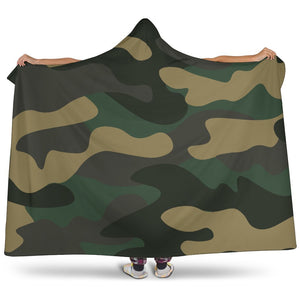 Black And Green Camouflage Print Hooded Blanket GearFrost