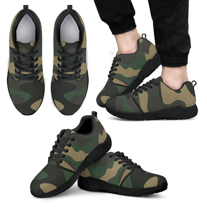 Black And Green Camouflage Print Men's Athletic Shoes GearFrost