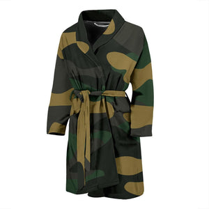 Black And Green Camouflage Print Men's Bathrobe GearFrost