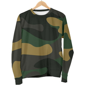 Black And Green Camouflage Print Men's Crewneck Sweatshirt GearFrost