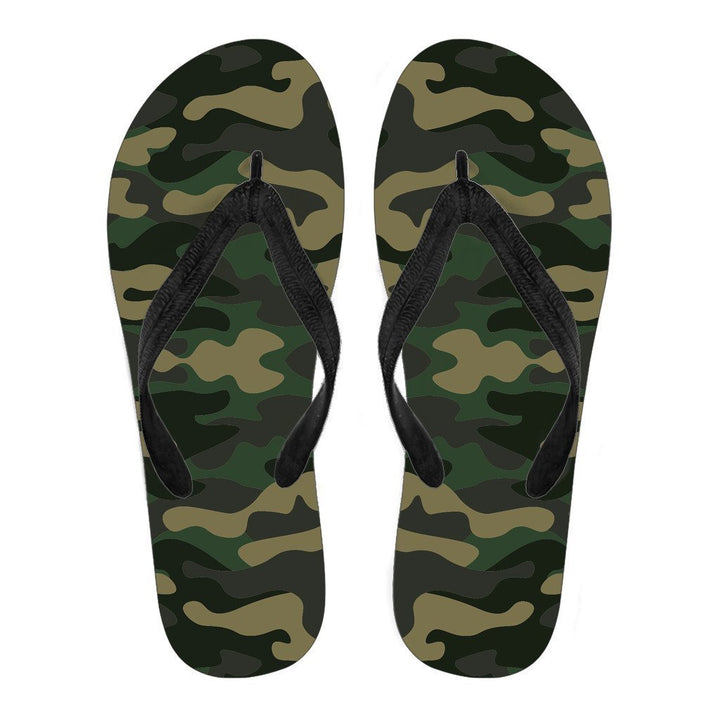 Black And Green Camouflage Print Men's Flip Flops GearFrost
