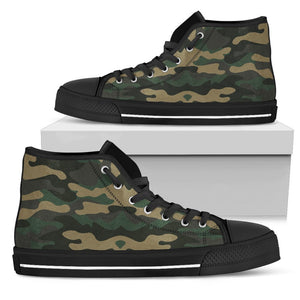 Black And Green Camouflage Print Men's High Top Shoes GearFrost