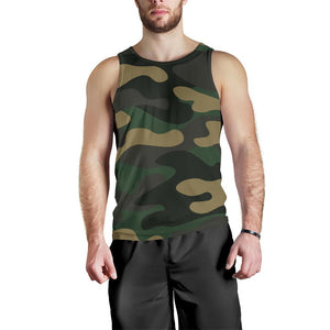 Black And Green Camouflage Print Men's Tank Top GearFrost