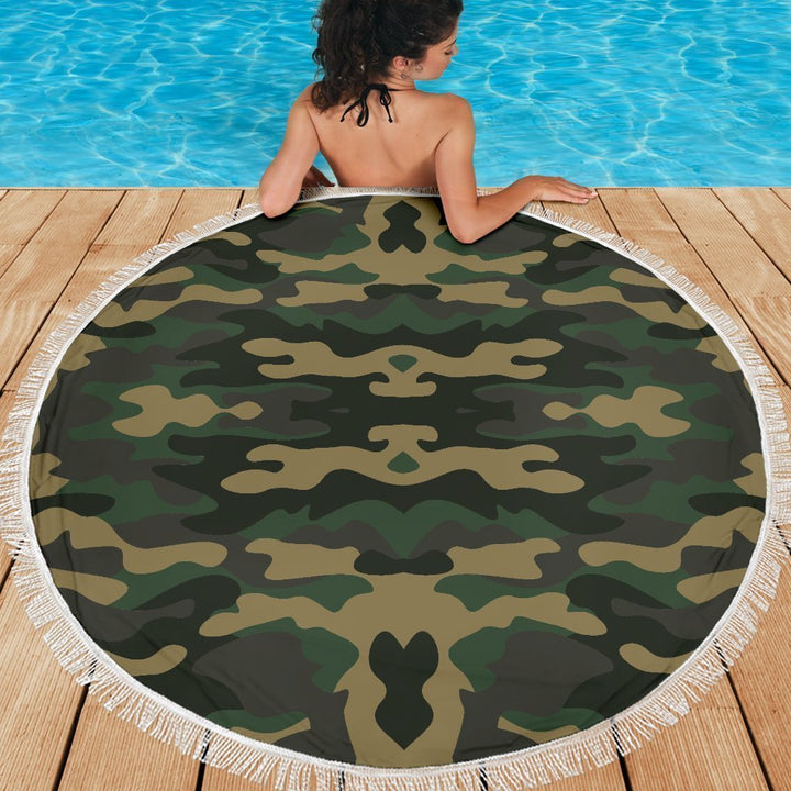 Black And Green Camouflage Print Round Beach Blanket GearFrost