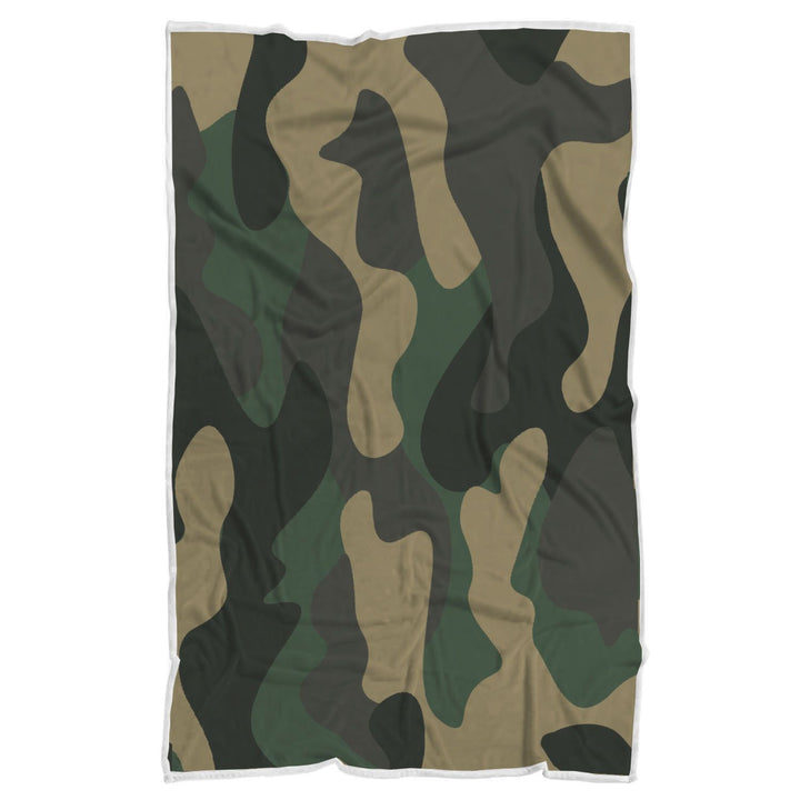 Black And Green Camouflage Print Sherpa Blanket GearFrost