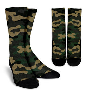 Black And Green Camouflage Print Unisex Crew Socks GearFrost