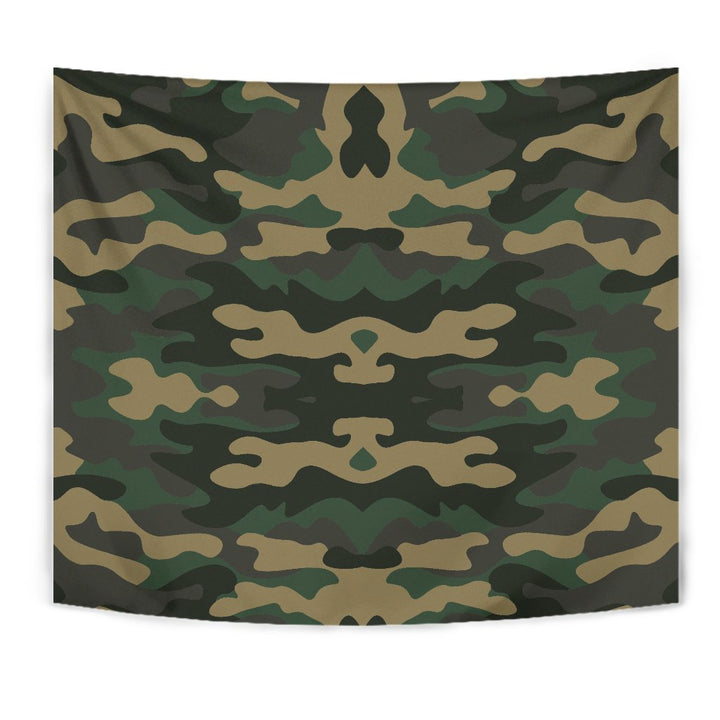 Black And Green Camouflage Print Wall Tapestry GearFrost