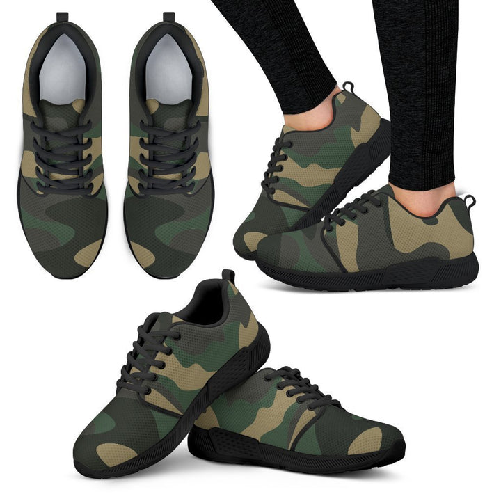 Black And Green Camouflage Print Women's Athletic Shoes GearFrost