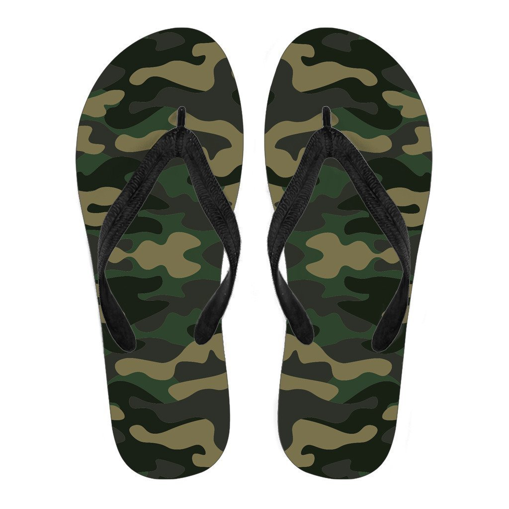 Black And Green Camouflage Print Women's Flip Flops GearFrost