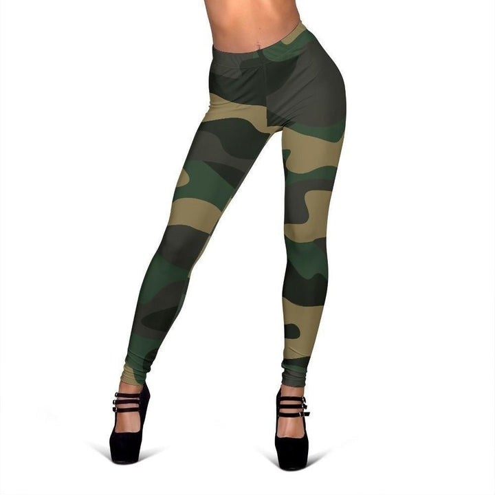 Black And Green Camouflage Print Women's Leggings GearFrost