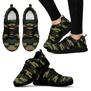 Black And Green Camouflage Print Women's Sneakers GearFrost