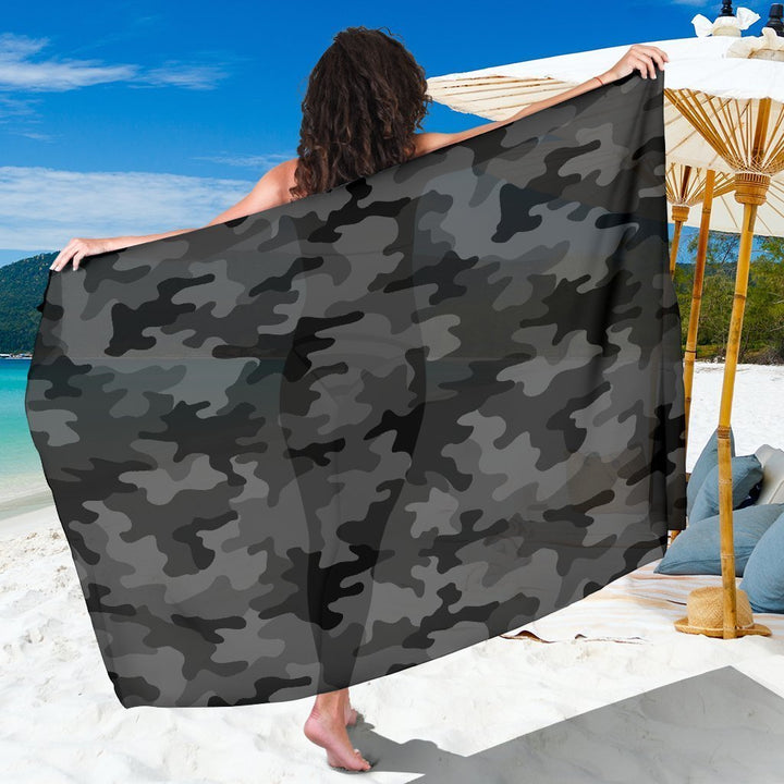 Black And Grey Camouflage Print Beach Sarong Wrap GearFrost