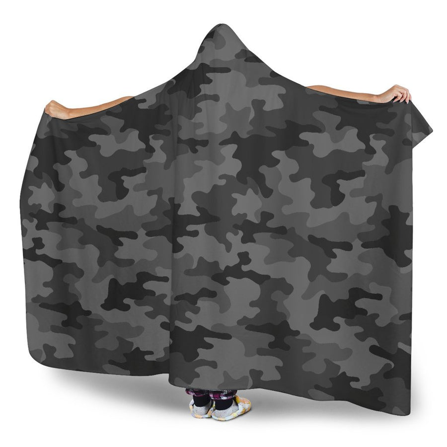 Black And Grey Camouflage Print Hooded Blanket GearFrost