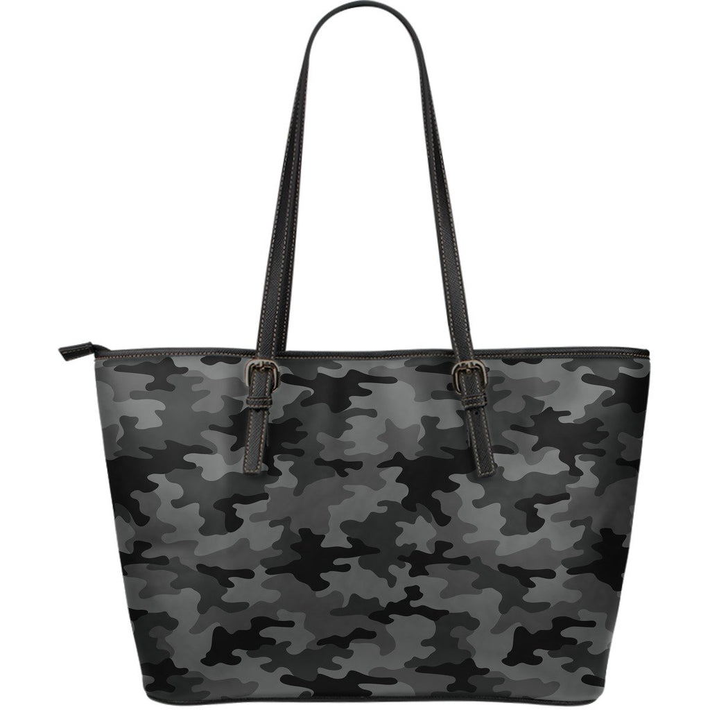 Black And Grey Camouflage Print Leather Tote Bag GearFrost