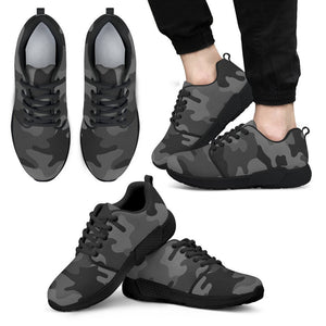 Black And Grey Camouflage Print Men's Athletic Shoes GearFrost