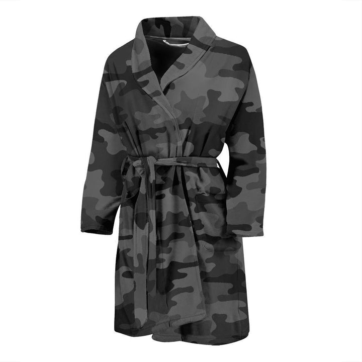 Black And Grey Camouflage Print Men's Bathrobe GearFrost