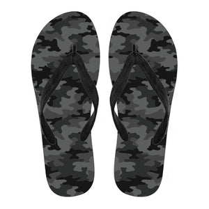 Black And Grey Camouflage Print Men's Flip Flops GearFrost