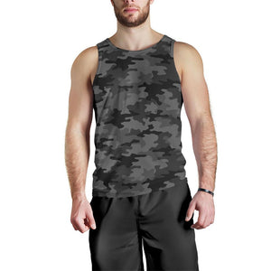 Black And Grey Camouflage Print Men's Tank Top GearFrost