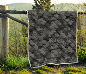 Black And Grey Camouflage Print Quilt GearFrost