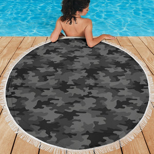 Black And Grey Camouflage Print Round Beach Blanket GearFrost