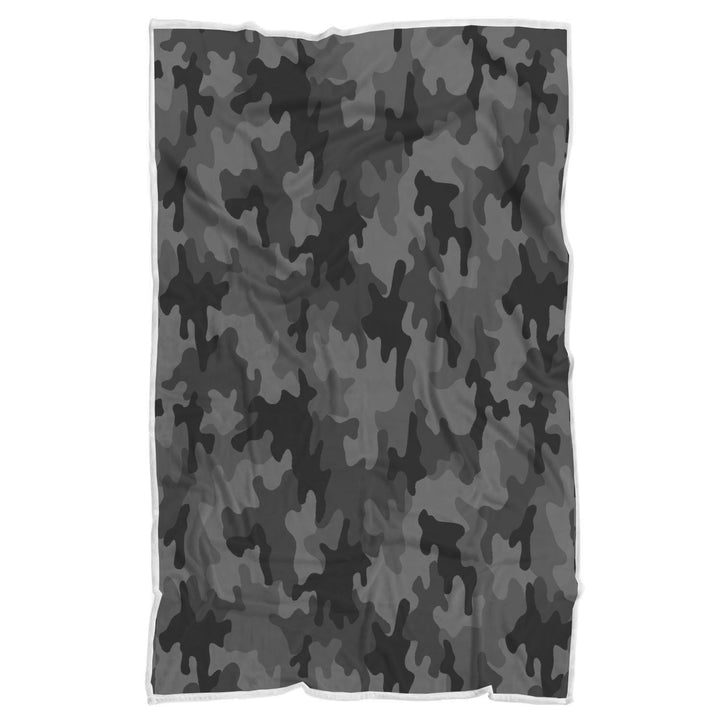 Black And Grey Camouflage Print Sherpa Blanket GearFrost