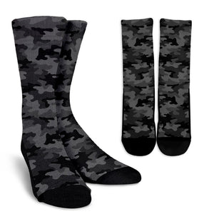 Black And Grey Camouflage Print Unisex Crew Socks GearFrost