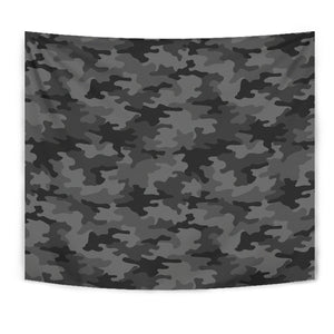 Black And Grey Camouflage Print Wall Tapestry GearFrost