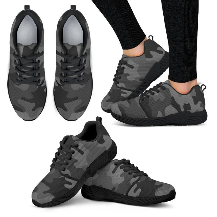 Black And Grey Camouflage Print Women's Athletic Shoes GearFrost
