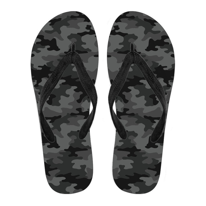 Black And Grey Camouflage Print Women's Flip Flops GearFrost