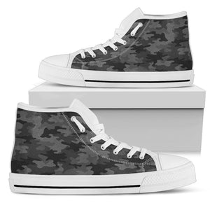 Black And Grey Camouflage Print Women's High Top Shoes GearFrost