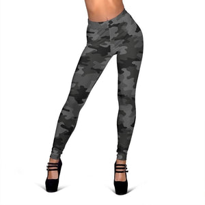 Black And Grey Camouflage Print Women's Leggings GearFrost