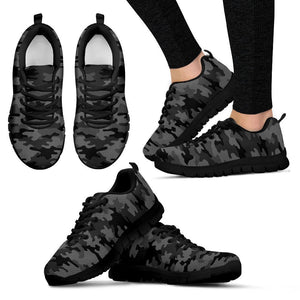 Black And Grey Camouflage Print Women's Sneakers GearFrost
